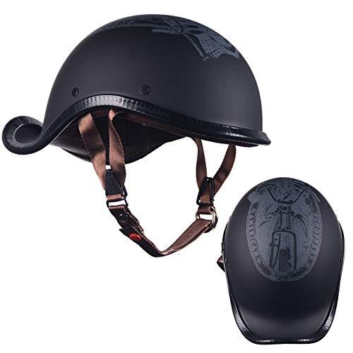 AJJ Casco Scoop Medio Cubierto de Moto Vintage Skull, Cascos Abiertos de Motocicleta ciclomotor Scooter Cruiser, Equipo de protección Chopper Bobber Vespa-Helmet (Size : XL(59~60cm))