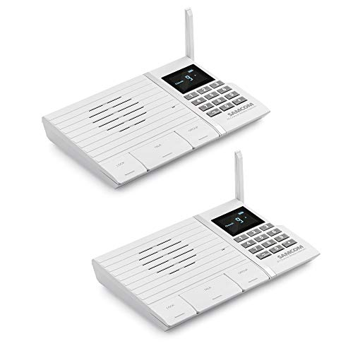 Wireless Intercom System, SAMCOM FTAN20A 20 Channels 3 Code Security Ultra-thin Room to Room Intercom with Display Screen 1000FT Long Range for Home and Office (2 Units)