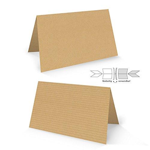 25 Stück hell-braune natur Kraftpapier Optik neutrale Blanko-Karten Tischkarten Kärtchen Namensschilder Kärtchen Schilder Tisch-Aufsteller zum Hinstellen - beidseitig verwendbar!