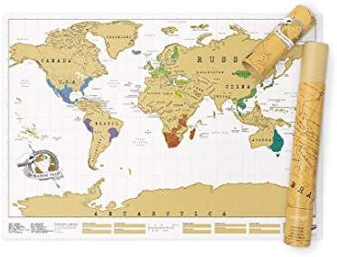 Luckies Of London, LUSCR, Mapa Del Mundo, Mapa Fisico Del Mundo, Regalos De Viaje: Luckies of London Ltd.: Amazon.es: Hogar
