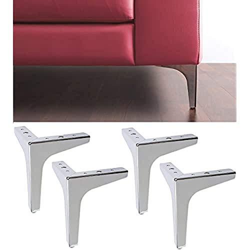 IPEA - 4 Patas para sofás, Muebles, armarios, sillones Modelo Stella - Juego de 4 Patas de Hierro para decoración - Diseño Moderno y Elegante, Color Plateado Cromado, Altura 170 mm