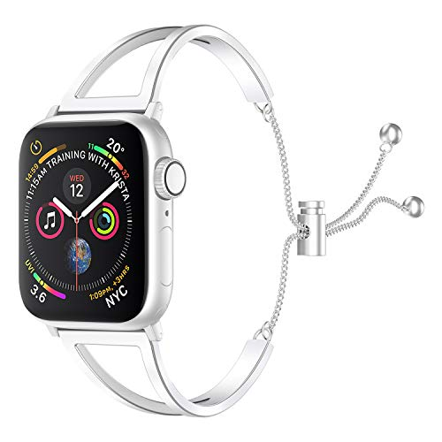 SamHity Stainless Steel Watch Bands Compatible for Apple Watch Series 6/5/4/3/2/1 SE 38mm 40mm 42mm 44mm Jewelry Style Classic Cuff Bracelet Replacement Band Suitable for Women (38mm 40mm, Silver)