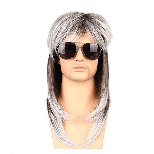 Zolisa Mens Mullet Wig 70s 80s Vintage Brown Gradient Rock and Roll wigs...