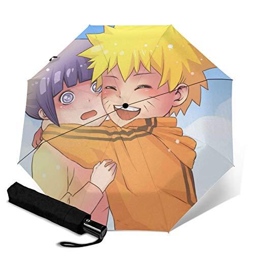 Anime Naruto Hy¨±ga Hinata Tragbarer Automatisch Faltbarer Regenschirm für Damen und Herren Verstärkter Winddicht Rahmen Wasserdicht und UV Beweis