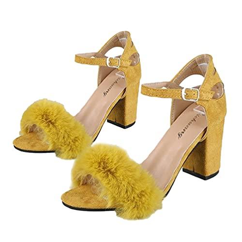 Generic Sandalias de Tacón Grueso Mullido Falso Stiletto Sexy Punta Abierta Correa de Tobillo Zapatos de Sandalias de Tacón Alto Hebilla Sandalias de Vestir para Mujeres Damas (Amarillo)