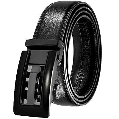 JINIU Men's Leather Belt Automatic Buckle 35mm Ratchet Dress Black Belts Boxed KT2 One Size