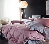 CoutureBridal - Ropa de cama reversible de 135 x 200, color rosa y gris lisos, para niña, de microfibra suave, funda nórdica romántica con cremallera y funda de almohada de 80 x 80 cm