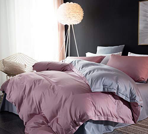 CoutureBridal Ropa de cama reversible 135 x 200 rosa y gris, ropa de cama reversible para niña, monocolor, suave microfibra, funda nórdica romántica con cremallera y funda de almohada 80 x 80 cm