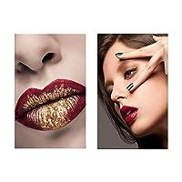 キャンバスに印刷赤い唇キャンバス絵画壁アート写真ファッション女性ポスターとプリント女の子寝室リビングルーム家の装飾60x80cmx2フレームなし