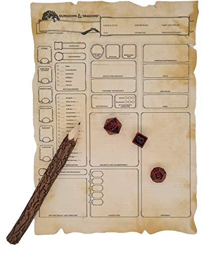 World of Dice Charakterbogen Papier - 5 Stück, unbedruckt, 250g m², äußerst stabil, DIN A4, gestanzt, Pergamentpapier, Spielbogen, (5 Stück unbedruckt)