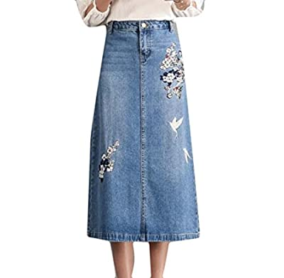Aooword Women's Skinny Printed Embroidery Midi Stylish Mini Denim Skirt