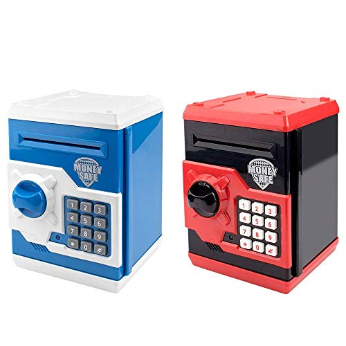 HUSAN Great Gift Toy for Kids Code Electronic Piggy Banks Mini ATM Electronic Coin Bank Box for Children Password Lock Case(Black/Red and Blue/White)