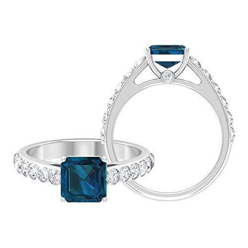 2.39 CT D-VSSI Asscher Corte Moissanite Solitario Anillo de compromiso, anillo de compromiso único con piedras preciosas certificadas, anillo de boda, 14K Oro blanco, Moissanita, Size:US 70