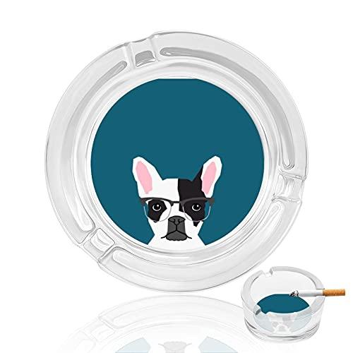 Cenicero de cigarrillo de cristal transparente antideslizante, bandeja redonda utilizada para fumadores en casa, oficina, jardín, decoración y regalo, hipster Frenchie con gafas Bulldog francés