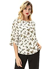 GRACE KARIN Women Chiffon Blouse Casual Batwing Blouse Round Neck Loose Top Floral B-Beige M #3
