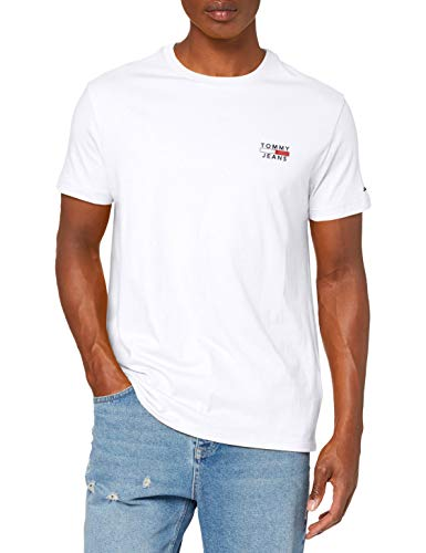 Tommy Jeans TJM Chest Logo tee Camiseta, Blanco (White), Large para Hombre