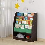 SEIRIONE Wooden Kids Book Rack, 4 Tier Childrens Colorful Bookshelf ,1 Toy Storage Cabinet, 2 in 1 Design, Espresso/Black