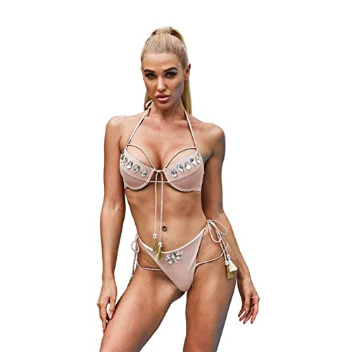 Lixiabeidai Frauen Aprikosenrhinestone Quaste Verband Bikini Set Underwire Bikini Zwei Stück Badekostüm,apricot-Large