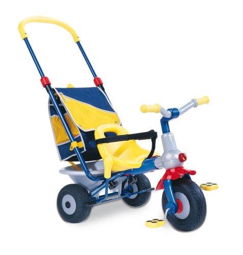 Berchet 414006 - Top Dreirad Baby Too Metallrahmen, mitwachsend mit Schiebestange, Freilauf, Gurt, Rucksacktasche, Kippmulde, zerlegbar blau/grau/rot