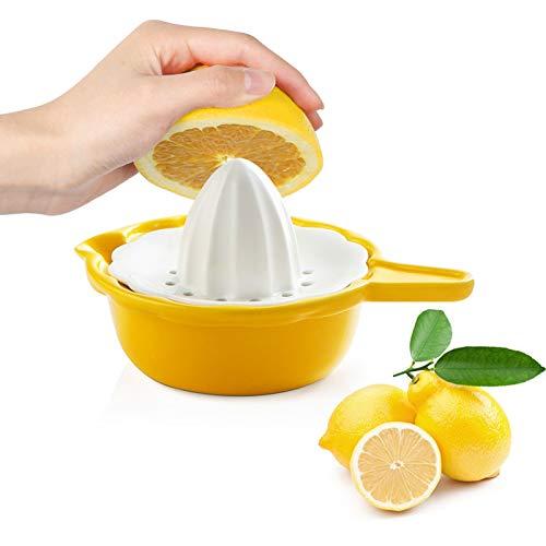 SWEEJAR Ceramic Citrus Juicer, Stoneware Lemon Squeezer with Detachable Bowl, 7 Ounce Manual Fruit Reamer,(Yellow)