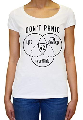 ShutUp Co. Don' Panic 42 The Answer to Life Universe Everything Camiseta para Mujer Medium