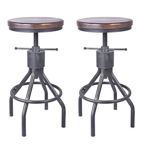 LOKKHAN Set of 2 Industrial Bar Stool-Adjustable Swivel Round Wood Metal Pub Height Bar Stool,23