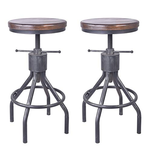 Set of 2 Industrial Bar Stool-Vintage Adjustable Round Wood Metal Swivel Bar Stool-Cast Iron-23-30 Inch Tall Counter Bar Height Farmhouse Kitchen Stools (Walnut Color)