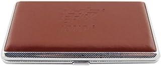 LONGWDS Caja de cigarro Caja de Cigarrillo de Cuero, Cigarrillos Cubierta de la Caja automática, 14 Paquetes (Color: Natural)