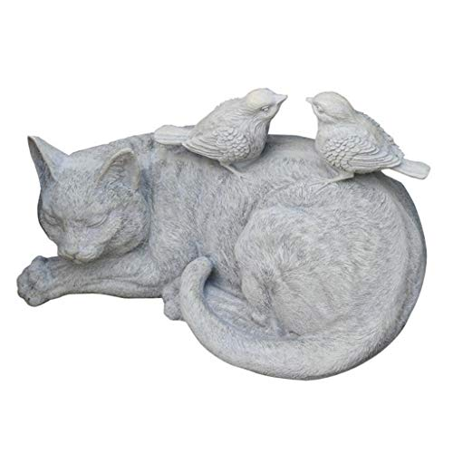 Garden Ornaments Courtyard 16cm Cat Adornment Resin Crafts Cute Animal Statues Outdoor Garden Decorations Exquisite Living Installations Accessories (Color : Gray, Size : 29 * 17 * 16cm)