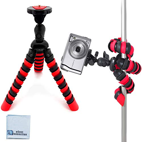 "12"" Inch Tripod w/Flexible Spider Disc Legs with Quick Release Plate and Bubble Level for All Cameras + eCostConnection Microfiber Cloth"