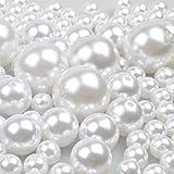 70 PCS 12/20/30mm Perlas Para Manualidades Perlas de Coser Plástico Surtido de Perlas Para la Decoración de Navidad, Fiesta de Cumpleaños, La Boda, Rellenos de Jarrones, Bricolaje de Joyería (blanco)