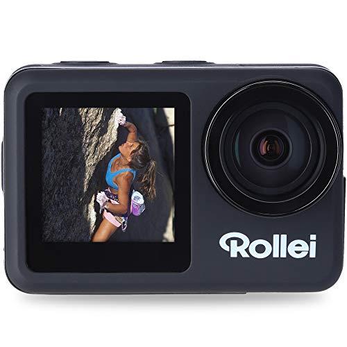 Rollei 40328 Action Cam 8S Plus i 4K 60Fps Fotocamera Subacquea con Display Selfie Stabilizzazione Immagini, Time-Lapse Slow-Motion, Funzione Loop, Impermeabile Fino a 10 M