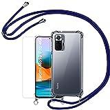 Vauki Funda con Cuerda para Xiaomi Redmi Note 10 Pro/Pro MAX Carcasa Transparente y Protector Pantalla, Suave Silicona Case Colgante Ajustable Collar Correa de Cordón Case 6,67 Pulgadas - Azul