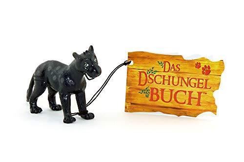 Baghira Figur aus der Serie Das Dschungelbuch. Mit Dschungelbuch Schild und Band am Fuß