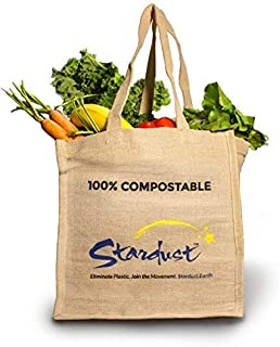 Stardust Reusable Eco-friendly Jute Grocery Bags, Compostable Tote 3-Pack (Original)