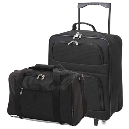 5 Cities Folding Hand Luggage Bag + 40x20x25 Ryanair Max Size Cabin Holdall(Black + Black)