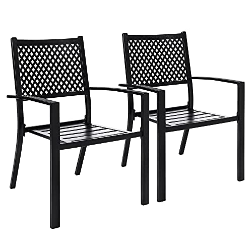 Bigroof Wrought Iron Outdoor Patio Stackable Dining Arm Chairs,Outdoor Chairs Set of 2 for Garden Backyard,Black