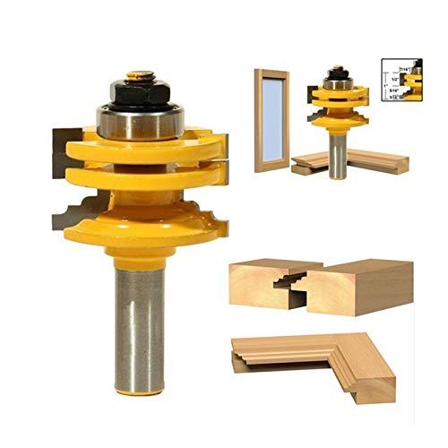 QWXZ Holzwerkzeuge 1Pc / 2ST 8mm / 12,7 mm 1/2 Zoll Schaft Glastürschiene Stile Reversible Fräser Holz Router Schneidewerkzeug Stanzpositionierung (Cutting Edge Diameter :...