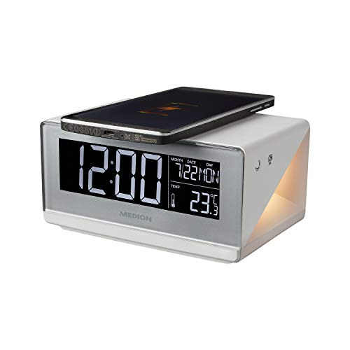 MEDION E75009 Wecker mit Qi Ladefunktion (Weckstation, Ladestation, induktives Laden, Temperaturanzeige, Snooze Schlummerfunktion, Timer, Displaydimmer) Silber