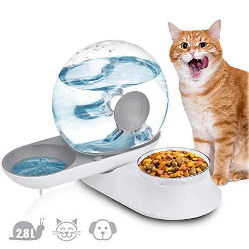 Lacyie Wasserspender und Futterautomat für Katze und Hund, 2 in 1 Automatischer Futterspender Futterautomat mit 2.8L Trinkbrunnen & 240g Futternapf für Katzen Hunde Haustier