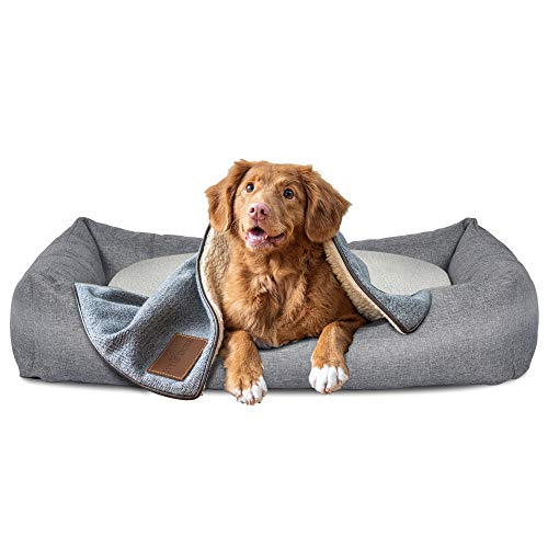 Ribelli Hundebett aus Stoff mit Lammfell Imitat Hundekissen in DREI Größen L, XL & XXL (L, grau/weiß)