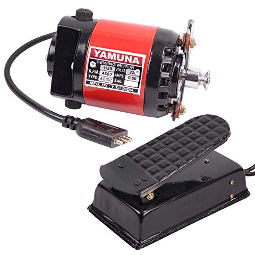 Kohinoor YAMUNA H.P-1/12 Mini Electric Sewing Machine Motor Copper Winding with Speed Controller and Belt (15.2x7.6x7.6 cm, Red and Black)