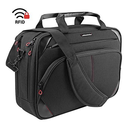 KROSER Laptop Tasche 15,6 Zoll Business Tasche Laptop Umhängetasche Wasserabweisend Schultertasche Durable Tablet Hülle mit RFID Taschen für College/Herren/Frauen/Männer/Damen-Schwarz/Rot MEHRWEG