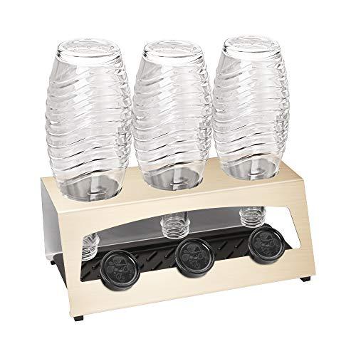 JAYZUUM 3er SodaStream Flaschenhalter aus Edelstahl mit Abtropfwanne - Abtropfhalter Abtropfständer für SodaStream Flaschen, Soda Stream Crystal, Emil Flaschen(Gold)