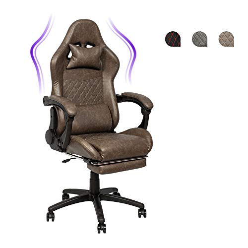 Racing Style Game Chair Office Chair, Ergonomic Recliner with Footrest, Adjustable Swiveling PC Chair with Headrest and Lumbar Support (Brown)
