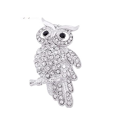 Crystal Owl Broches Pines Fashion Femen Women'S Broches Farita Sapa Pin Tinket Para Mamá Ladies Boda De Cumpleaños-Plata