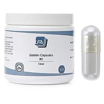 LFA Size 0 Empty Capsules - Clear Gelatin - 120 Count Jar - Easy Snap Fillable Beef Gel Caps for DIY Powder Supplement Pills - Halal - Fits Filling Machine - Medium Pure Gelatin Capsule
