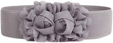Emorias 1 Pcs Cinturon de Mujer Gasa Rosa Elastico Correas Lindo Ancho Niña Boda Elegante Fiesta Falda Ropa Accesorios - Gris