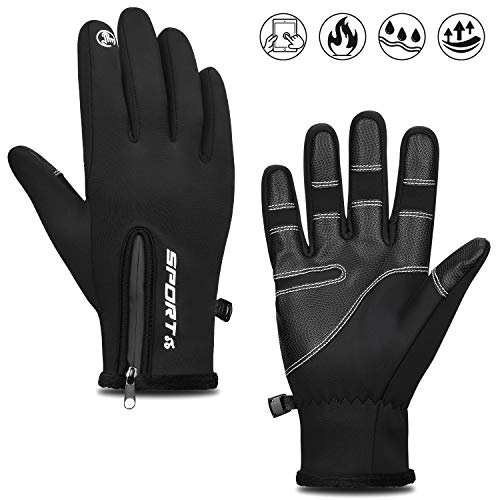 Cevapro Fahrradhandschuhe Outdoor Winddichte Sporthandschuhe Winter Touchscreen Handschuhe Unisex Warme Atmungsaktive Winterhandschuhe mit Reißverschluss für Männer/Frauen (Schwarz, M)