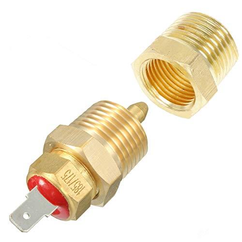 MTnoble Interruptores de automóviles Oro de aluminio 175-185 Grados Enginera eléctrica ventilador de refrigeración Termostato TEMP Interruptor 3/8 '' NPT